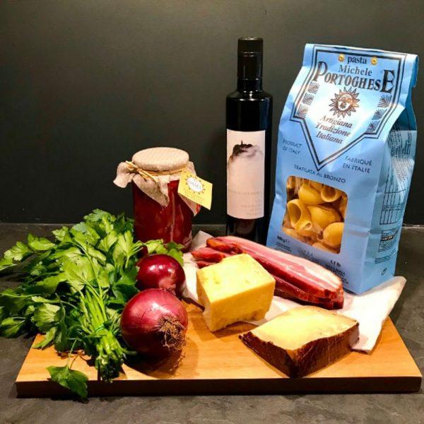 """Ma recette de pâtes à l'amatriciana avec les lumaconi de """"Michele Portoghese"""" que vous trouverez chez Les Bonnes Pâtes"""