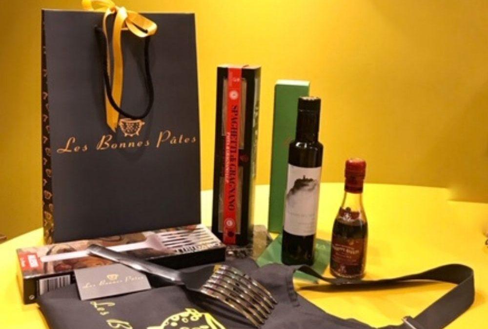 Coffret cadeau composé par la boutique italienne rennaise Les Bonnes Pâtes pour souhaiter les voeux de fin d'année