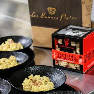 La vraie recette de la carbonara avec les trottole de Gragnano à trouver dans l'épicerie rennaise Les Bonnes Pâtes