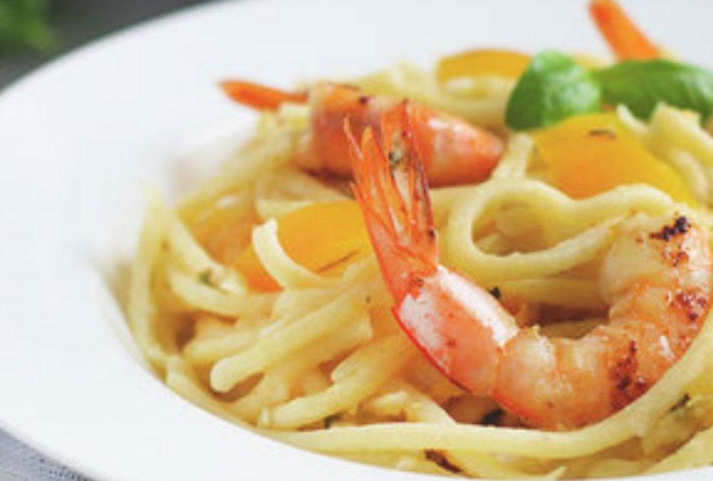 Pci de Toscane aux crevettes et tomates jaunes, voici la recette proposée par l'épicerie fine italienne Les Bonnes Pâtes