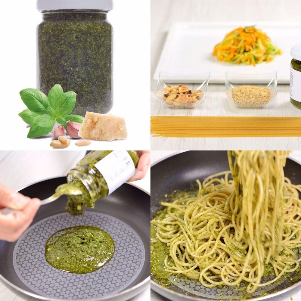 Ingrédients pour la cuisiner comme les italiens les spaghetti aux légumes et au pesto alla genovese