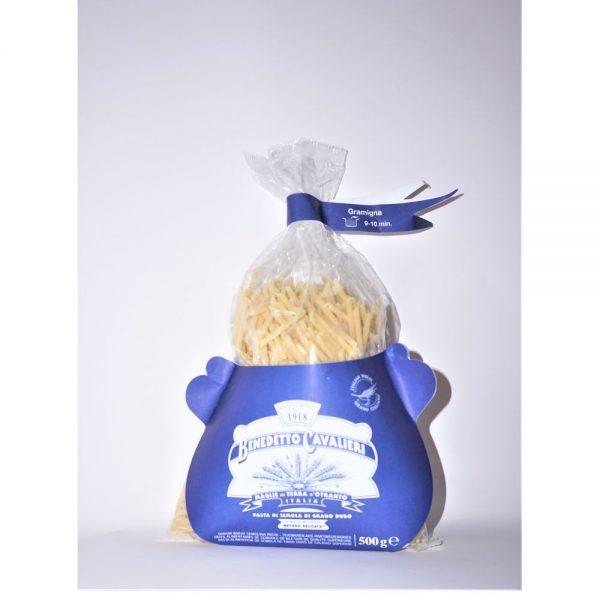 Pâtes artisanales Gramigna du producteur italien des Pouilles Benedetto Cavalieri, en vente dans la boutique Les Bonnes Pâtes.