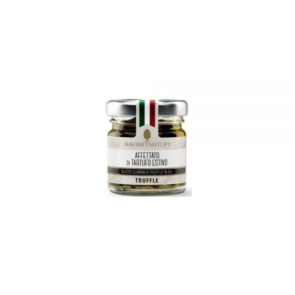Lamelels de truffe d'été italienne dans l'huile d'olive du producteur Savini Tartufi.