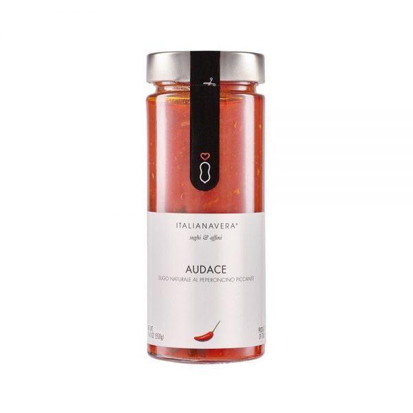 Audace de Italianavera est une sauce tomate naturelle sans conservateurs au piment équivalente à la sauce italienne arrabiatta.