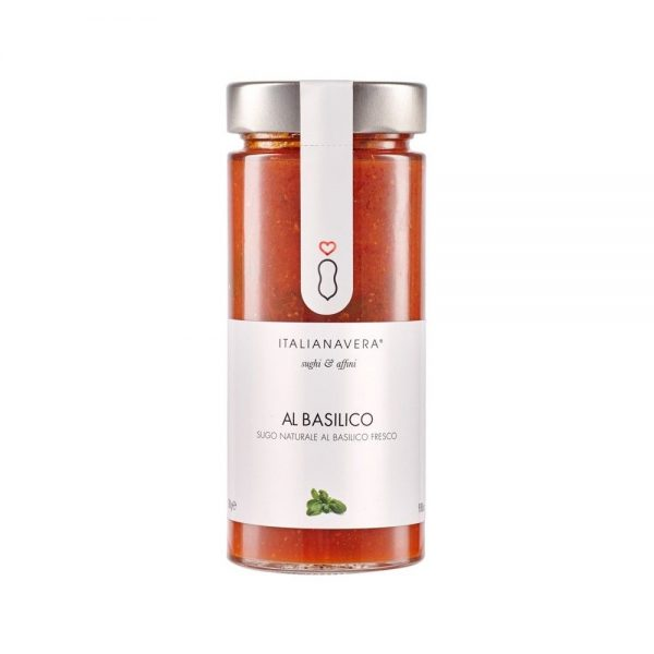 Al basilico de Italianavera est une sauce tomate naturelle sans conservateurs et sans sucres ajoutés au basilic.