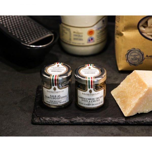 Carpaccio de truffe en bocal, très bon et utile dans vos préparations de plats italiens.