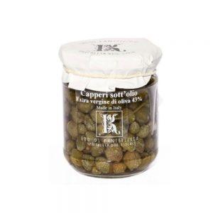Délicieuses câpres à l'huile d'olive de Kazzen, producteur de l'île de Pantelleria.