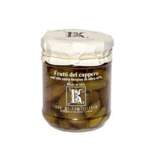 Délicieux câprons à l'huile d'olive de Kazzen, producteur de l'île de Pantelleria.