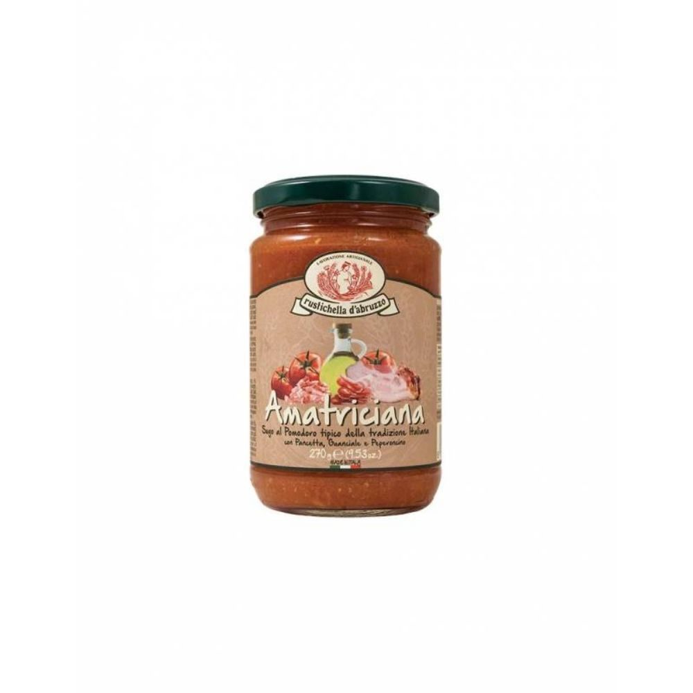 Dans la boutique Les Bonnes Pâtes, on trouve aussi de bonnes sauces issues de recettes traditionnelles italiennes comme l'Amatriciana.
