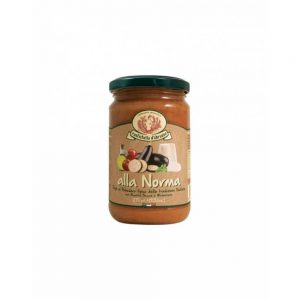 Dans la boutique Les Bonnes Pâtes, on trouve aussi de bonnes sauces issues de recettes traditionnelles italiennes comme la Sauce alla Norma.
