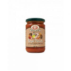 Dans la boutique Les Bonnes Pâtes, on trouve aussi de bonnes sauces issues de recettes traditionnelles italiennes comme la Sauce aux cèpes fughi porcini.