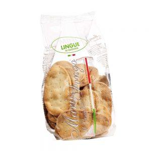 En vente dans la boutique els Bonnes Pâtes, les mini lingue comme des petits crackers que l'on peut utliser à l'apéritif.