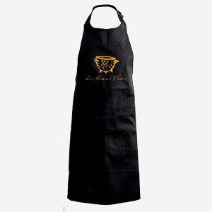 Une bonne idée cadeau, le tablier les bonnes pâtes taille unique, 100% coton, lavable en machine, gris foncé pour homme ou pour femme qui aime cuisiner des pâtes.