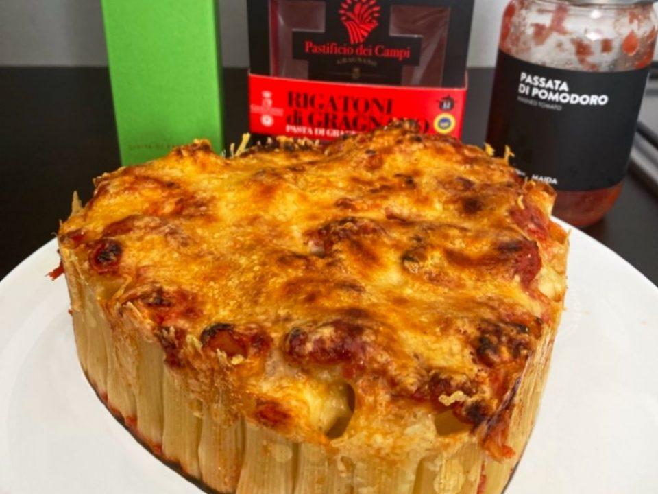 """Gâteau de rigatoni réalisé avec des produits venant de chez """"les bonnes pâtes"""""""